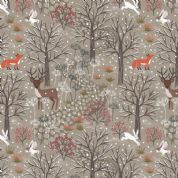Lewis & Irene - Winter in Bluebell Wood - 6686 - Woodland Scene on Taupe - C42.2 - Cotton Fabric